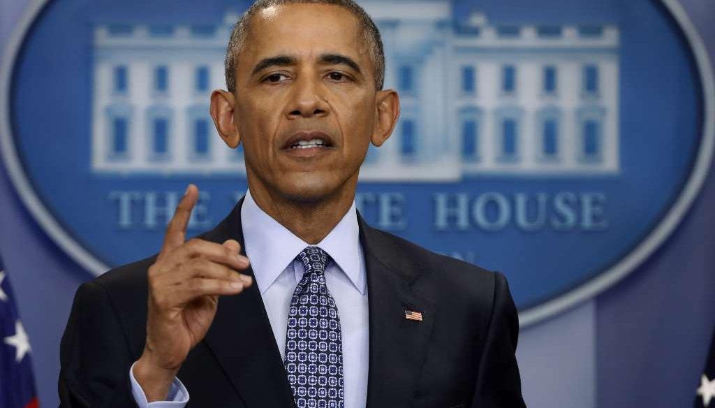 President Barack Obama speaks during his final presidential news conference Jan. 18, 2017. (AP Photo/Pablo Martinez Monsivais)