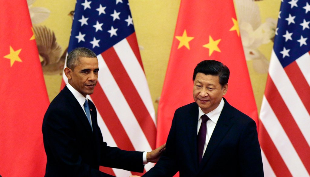 President Barack Obama shakes hand with Chinese President Xi Jinping after their press conference at the Great Hall of the People in Beijing, China on Nov. 12, 2014.