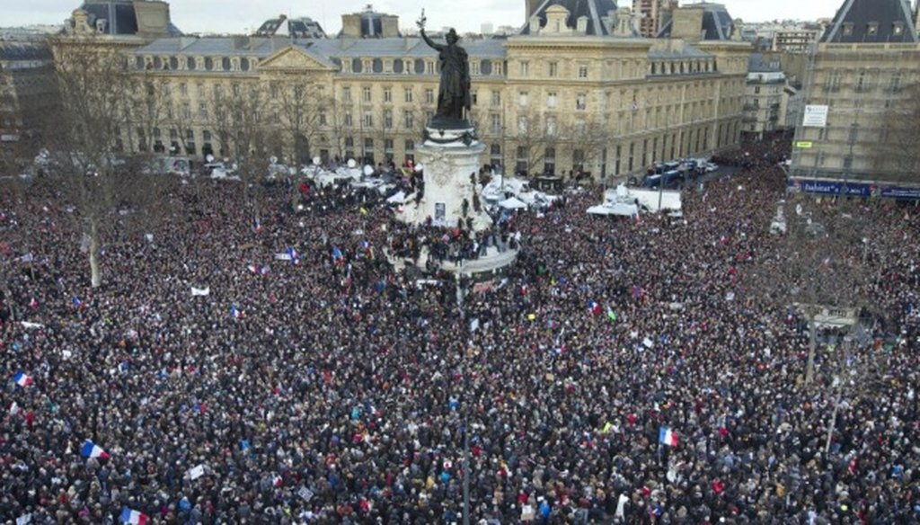 Thousands rally in Paris against terrorism in a Jan. 11, 2015, march on Republic Square.