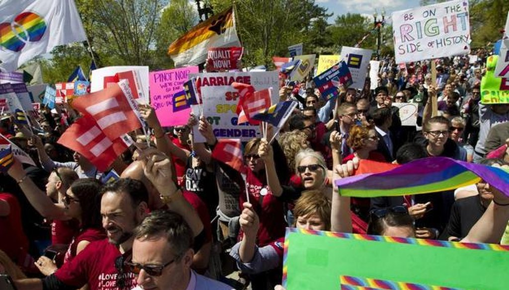 The crowd cheered as plaintiffs left the U.S. Supreme Court after oral arguments about same-sex marriage April 28, 2015. (Associated Press)