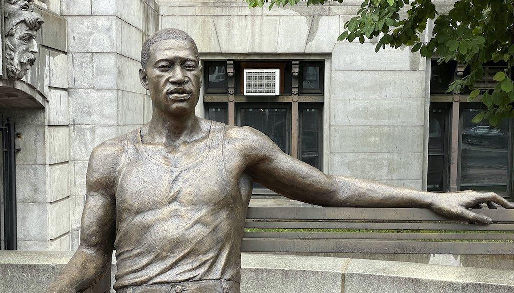A 700-pound bronze statue of George Floyd is seen in Newark, N.J., 6/22/21 (STRF/STAR MAX/IPx via AP)