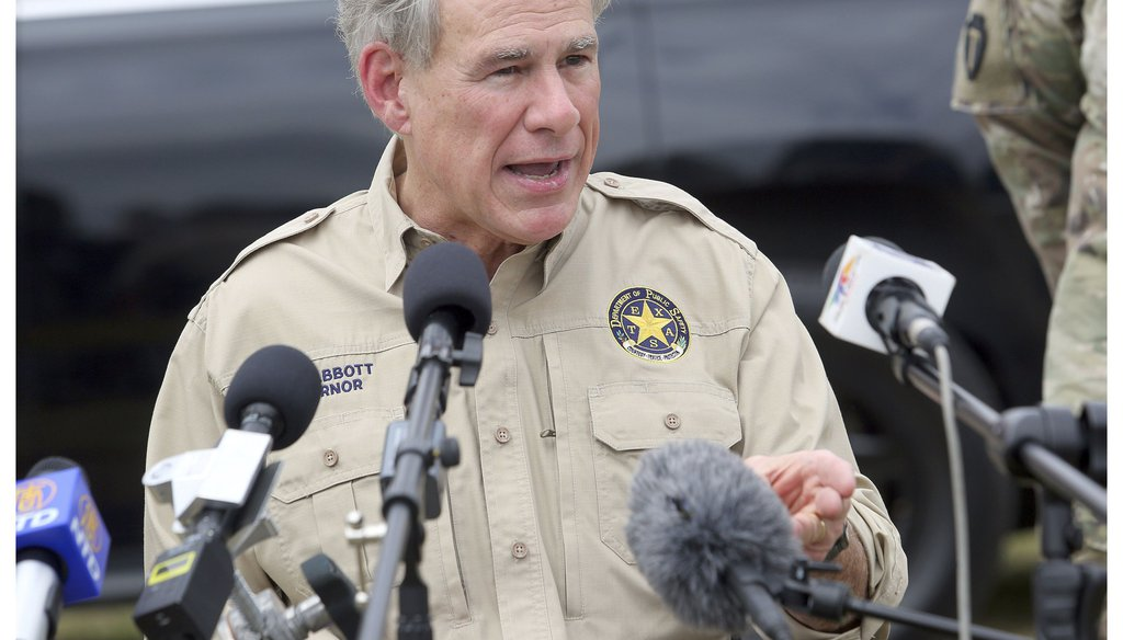 Texas Gov. Greg Abbott speaks on the topic of illegal immigration during a press conference on the border at Anzalduas Park, Tuesday, March 9, 2021, in Mission, Texas. (Joel Martinez/The Monitor via AP)