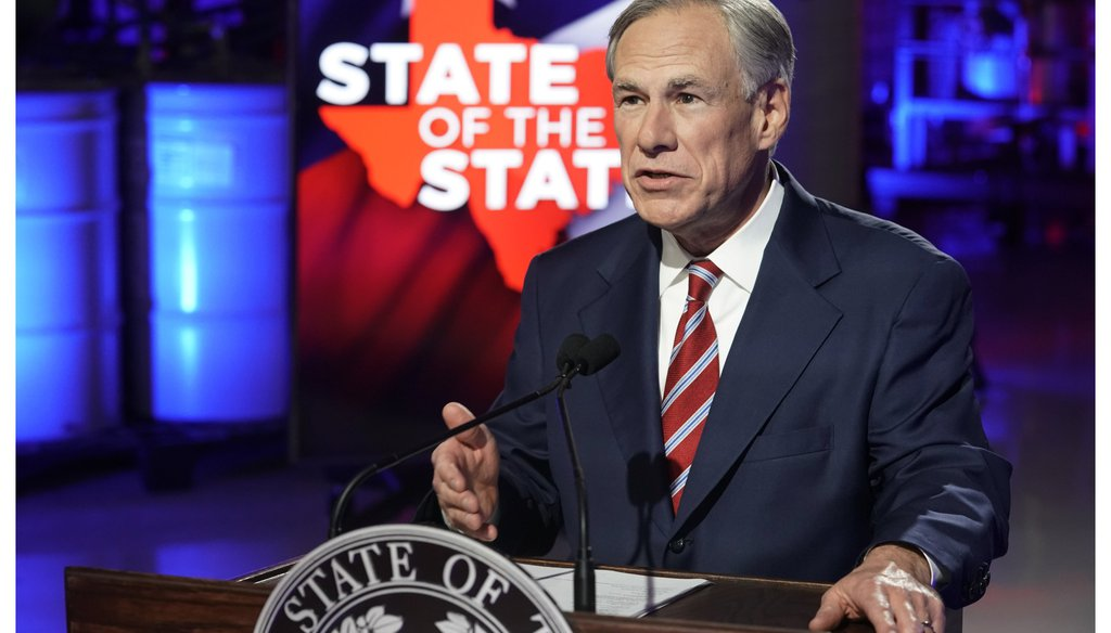 Texas Gov. Greg Abbott gives his state of the state address on Feb. 1, 2021 in Lockhart, Texas. (Bob Daemmrich/Pool Photo via AP)