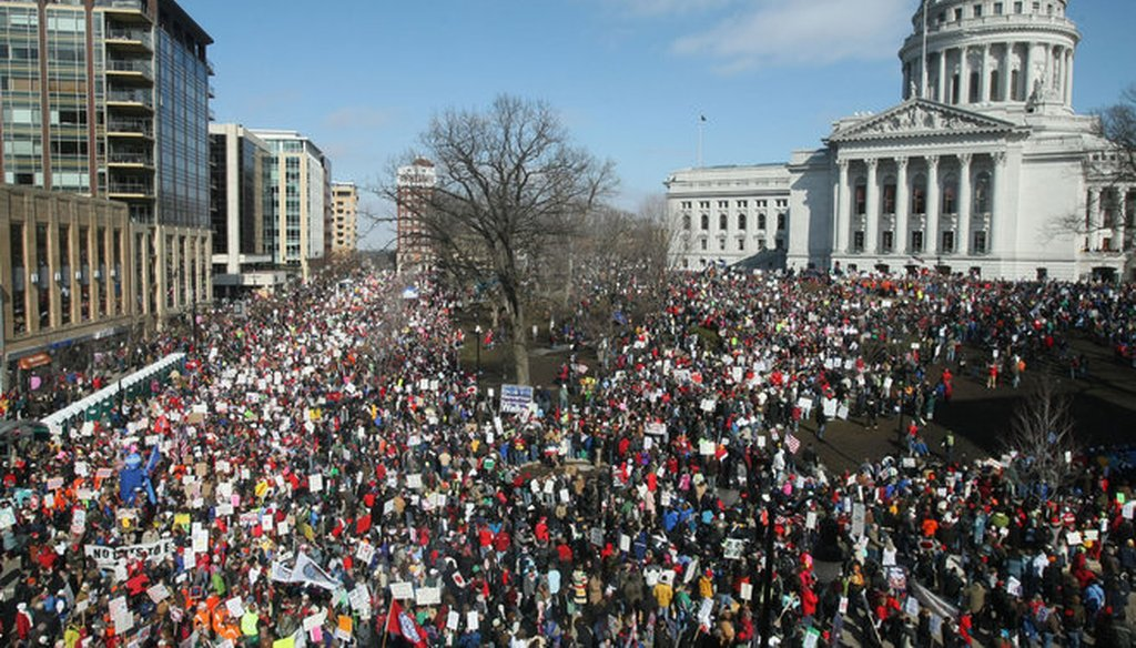 Demonstrators protesting Gov. Scott Walker's Act 10 collective bargaining reform law flooded the streets of Madison around the state Capitol in March 2011. (Michael Sears photo)