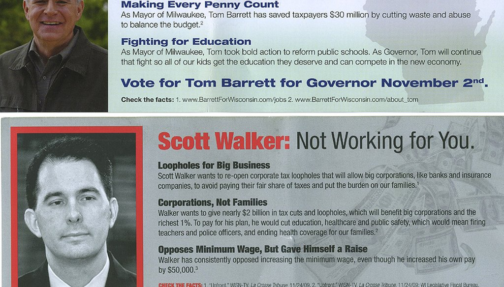 Campaign literature distributed by Advancing Wisconsin