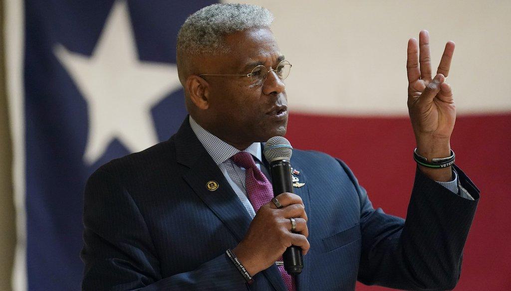 Texas gubernatorial hopeful Allen West speaks at the Cameron County Conservatives anniversary celebration, Wednesday, Sept. 22, 2021, in Harlingen, Texas. (AP)