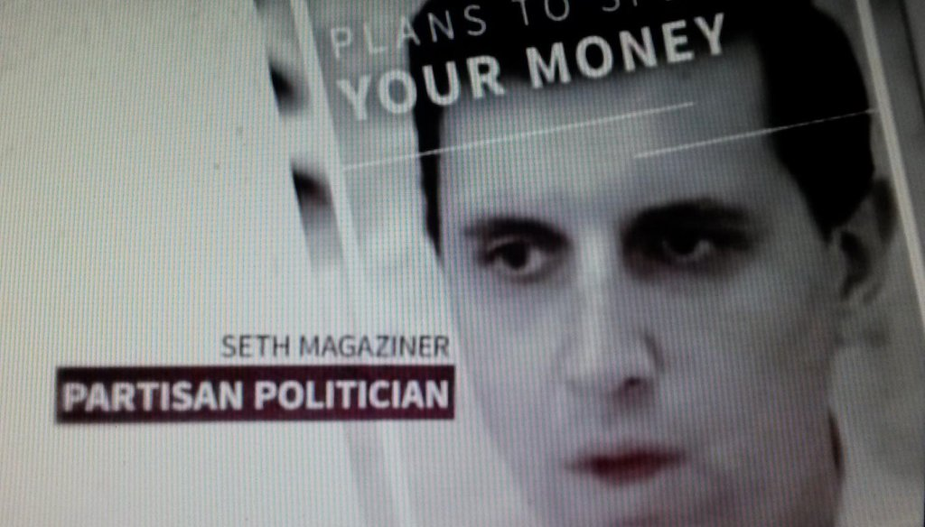 Image from an ad by Ernest Almonte attacking Seth Magaziner for allegedly planning to spend billions more dollars if Magaziner is elected General Treasurer.