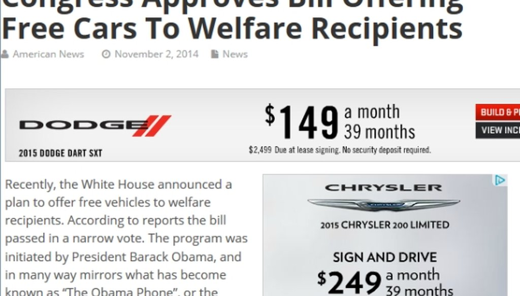 This web article from American News is based on a fictitious story, notwithstanding its 83,000 Facebook likes so far.