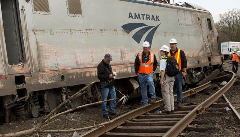 Cassandra Johnson of the National Transportation Safety Board works with officials on the scene of the Amtrak Train 188 Derailment in Philadelphia, Pa. (National Transportation Safety Board)