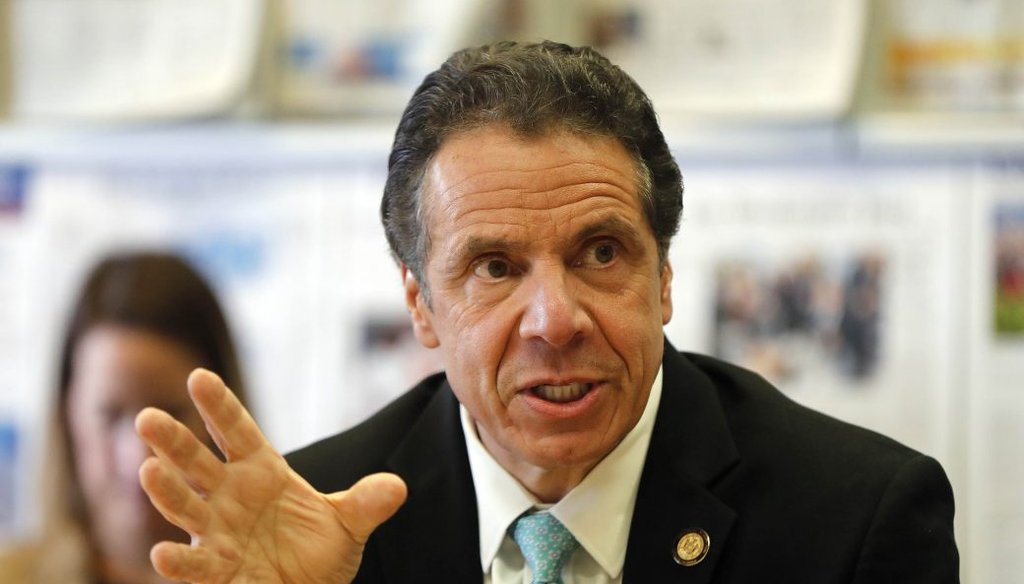 Gov. Andrew Cuomo speaks at a Buffalo News editorial board meeting in 2019. (Mark Mulville/Buffalo News)