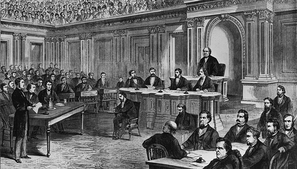 The impeachment trial of President Andrew Johnson in 1868.