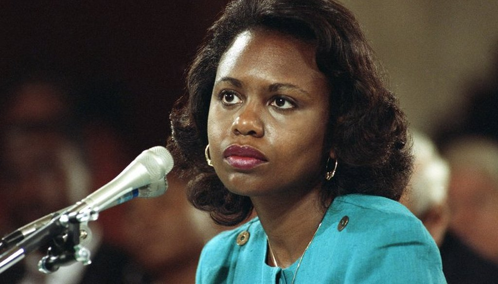 In this Oct. 11, 1991 file photo University of Oklahoma law professor Anita Hill testifies before the Senate Judiciary Committee on the nomination of Clarence Thomas to the Supreme Court on Capitol Hill.(AP Photo, File)