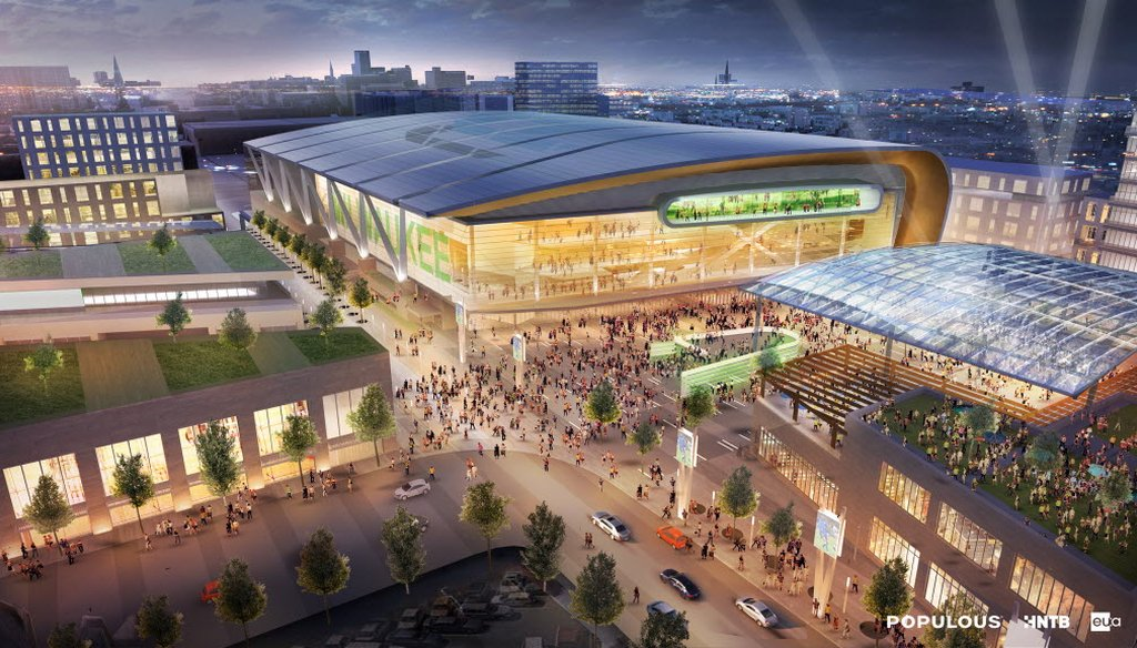 This is a rendering of an arena and entertainment complex that is proposed to replace the BMO Harris Bradley Center in Milwaukee.