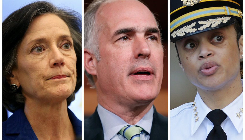 From left to right: Val Arkoosh, Montgomery County Commissioners Chair. U.S. Sen. Bob Casey, Democrat from Pennsylvania. Philadelphia Police Commissioner Danielle Outlaw.
