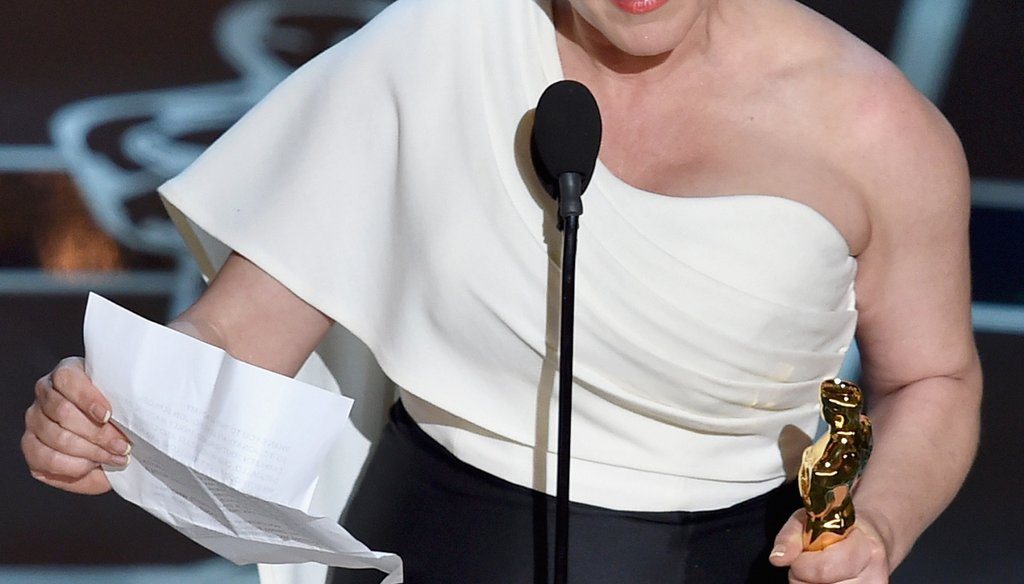 Actress Patricia Arquette accepts the award for Best Supporting Actress during the 87th Annual Academy Awards on Feb. 22, 2015. Photo by Getty Images