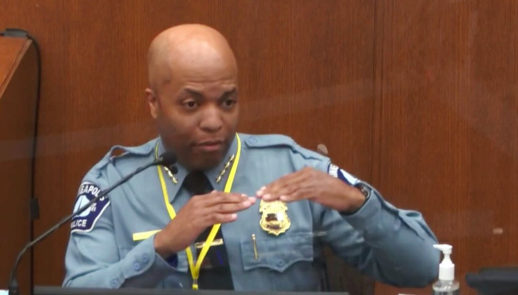 Minneapolis Police Chief Medaria Arradondo testifies in the trial of former Minneapolis police Officer Derek Chauvin. Chauvin is charged with causing the death of George Floyd. (Court TV via AP, Pool)