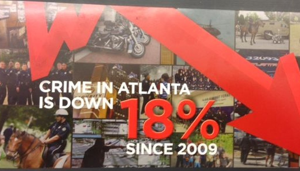 The Atlanta Police Foundation sent this flier touting what it said was an 18 percent drop in crime to its supporters as part of a fundraising effort.