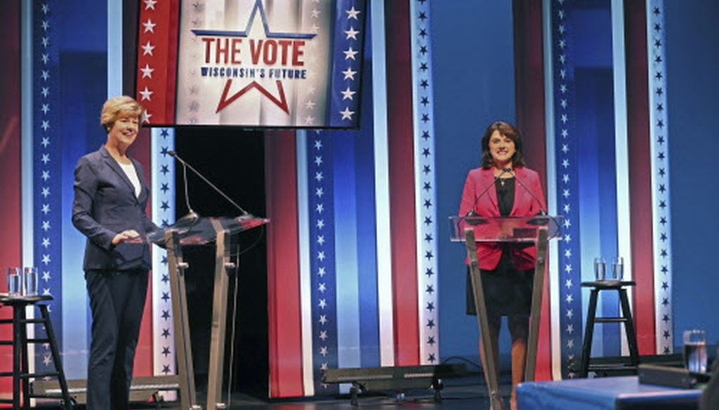 Democratic Sen. Tammy Baldwin (left) and Republican challenger Leah Vukmir  stand onstage before the start of the U.S. Senate debate at the University of Wisconsin-Milwaukee campus Oct. 8, 2018. (Michael Sears/Milwaukee Journal Sentinel)