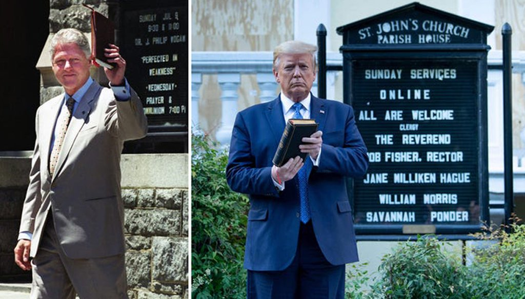 Bill Clinton (left) is shown leaving a church service he attended at Foundry United Methodist Church in 2000. Donald Trump (right) is shown posing in front of St. John's Church on June 1, 2020. (Source: Getty Images/USA TODAY)