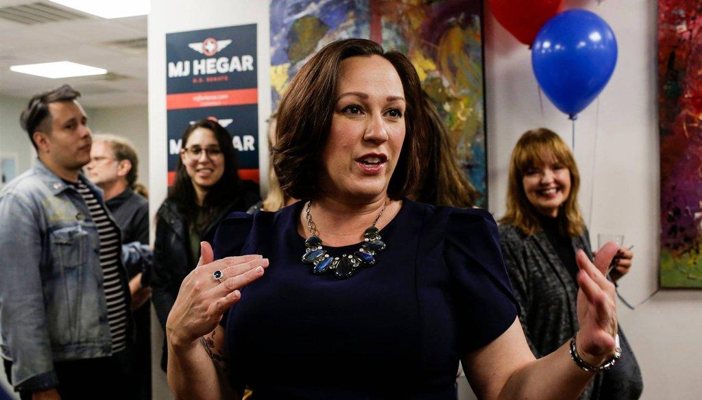 MJ Hegar is a Democrat running in Texas against U.S. Sen. John Cornyn [BRONTE WITTPENN/AMERICAN-STATESMAN].