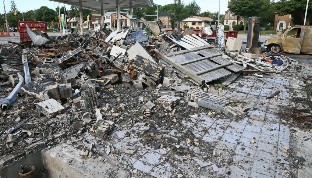 A BP gas station was destroyed in an arson fire during unrest in the Sherman Park neighborhood in Milwaukee following the fatal shooting of a man by Milwaukee police on Aug. 13, 2016. (Mike Sears photo)