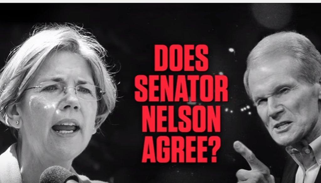 A National Republican Senatorial Committee ad links U.S. Sen. Bill Nelson and U.S. Sen. Elizabeth Warren on single-payer health care.