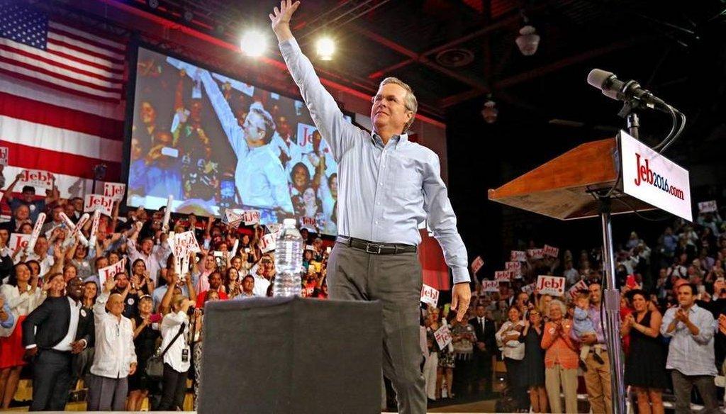 Former Florida Gov. Jeb Bush announced his bid for president at Miami Dade College June 15. (Miami Herald photo)