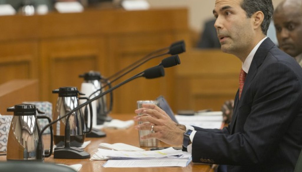 Jerry Patterson, a Republican running for state land commissioner, says incumbent George P. Bush, shown here at a December 2017 hearing, has overseen only two home repairs since Hurricane Harvey (STEPHEN SPILLMAN/for Austin American-Statesman).