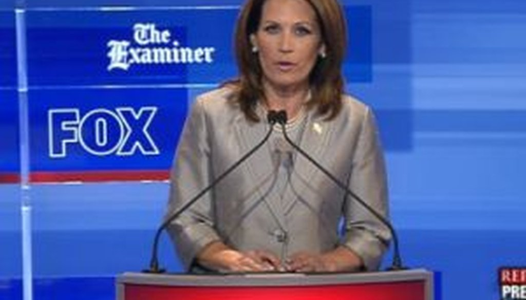 Rep. Michele Bachmann, R-Minn., was one of eight candidates to participate in a presidential debate in Ames, Iowa, on Aug. 11, 2011.