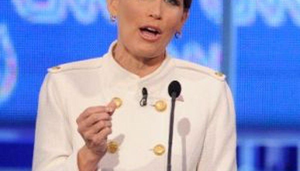 Rep. Michele Bachmann, R-Minn., speaks at the Republican presidential debate in Las Vegas on Oct. 18, 2011.