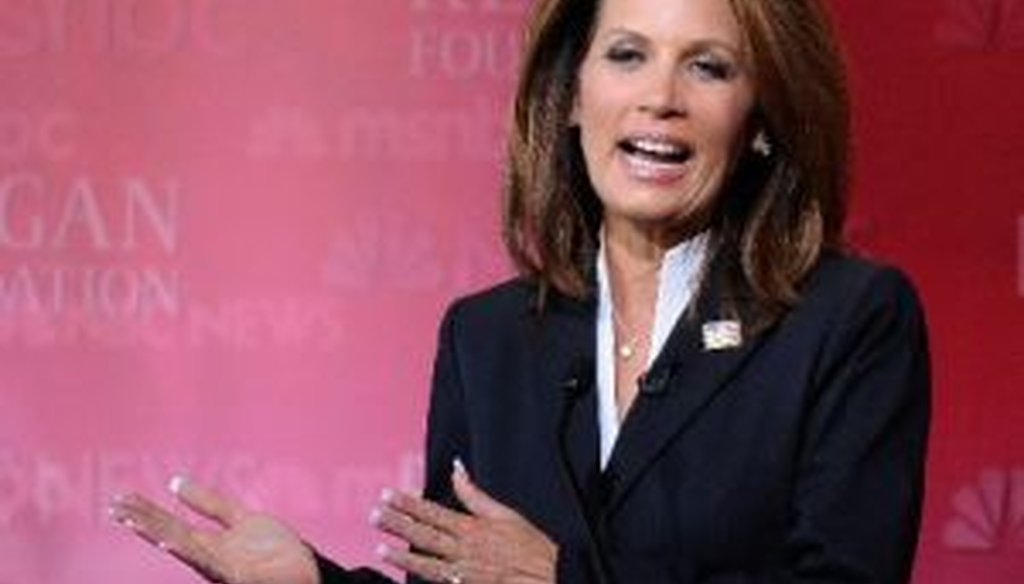 Republican presidential candidate Michele Bachmann takes part in a debate at the Ronald Reagan Presidential Library on Sept. 7, 2011.