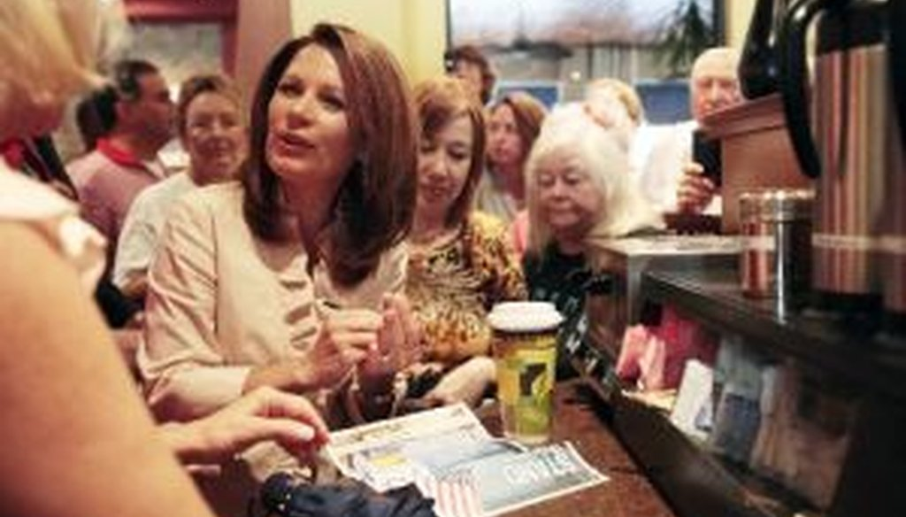 Republican presidential candidate Michele Bachmann greets supporters at the Calistoga Bakery Cafe in Naples, Fla., during a Sunshine State swing. (AP Photo/Naples Daily News)