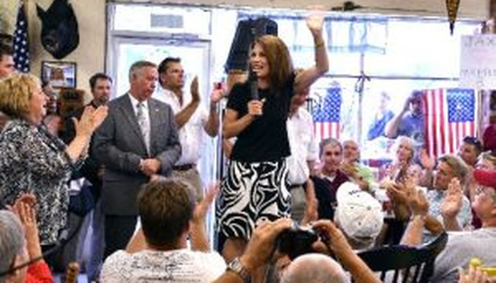 Rep. Michele Bachmann, R-Minn., speaks to supporters during a campaign stop at Angie's Subs, Friday, Aug. 26, 2011, in Jacksonville Beach, Fla.