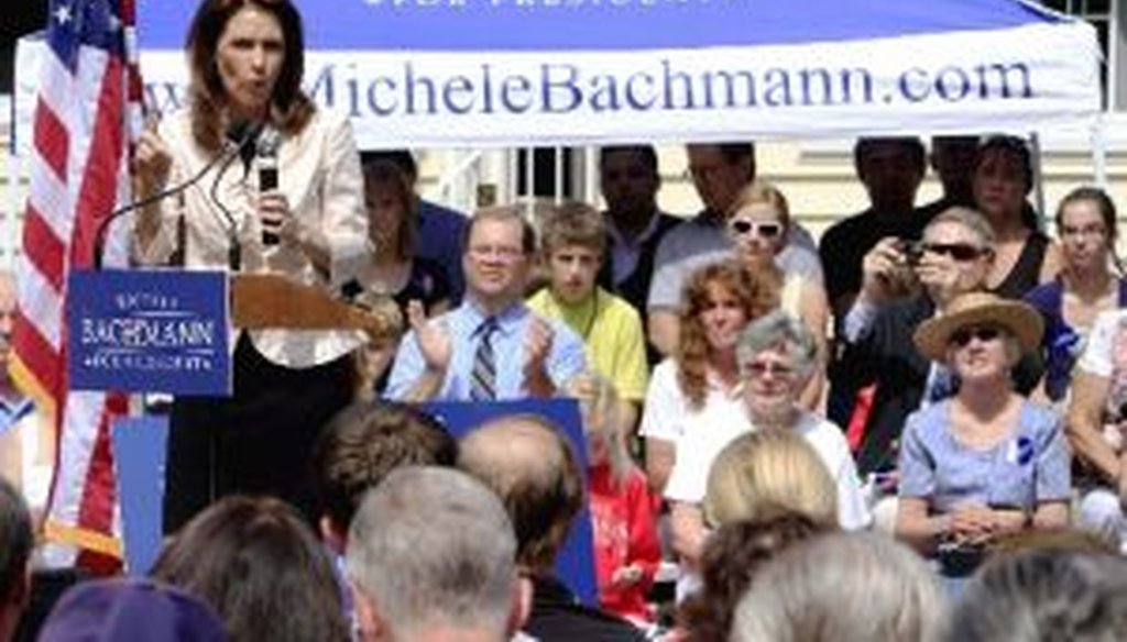 Republican presidential candidate Michele Bachmann talks with supporters during a campaign stop in Raymond, N.H., on June 28, 2011. She repeated a claim there about something President Barack Obama said in 2009.