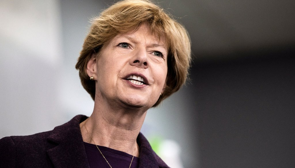 U.S. Sen. Tammy Baldwin, D-Wis., addresses supporters and workers at the Democratic Party of Rock County office in downtown Janesville, Wis.  (File photo)