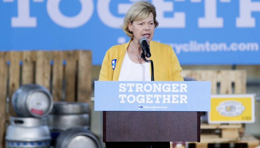 U.S. Sen. Tammy Baldwin, D-Wisconsin, speaks at a Hillary Clinton campaign rally in August of 2016 (Calvin Mattheis, Milwaukee Journal Sentinel)