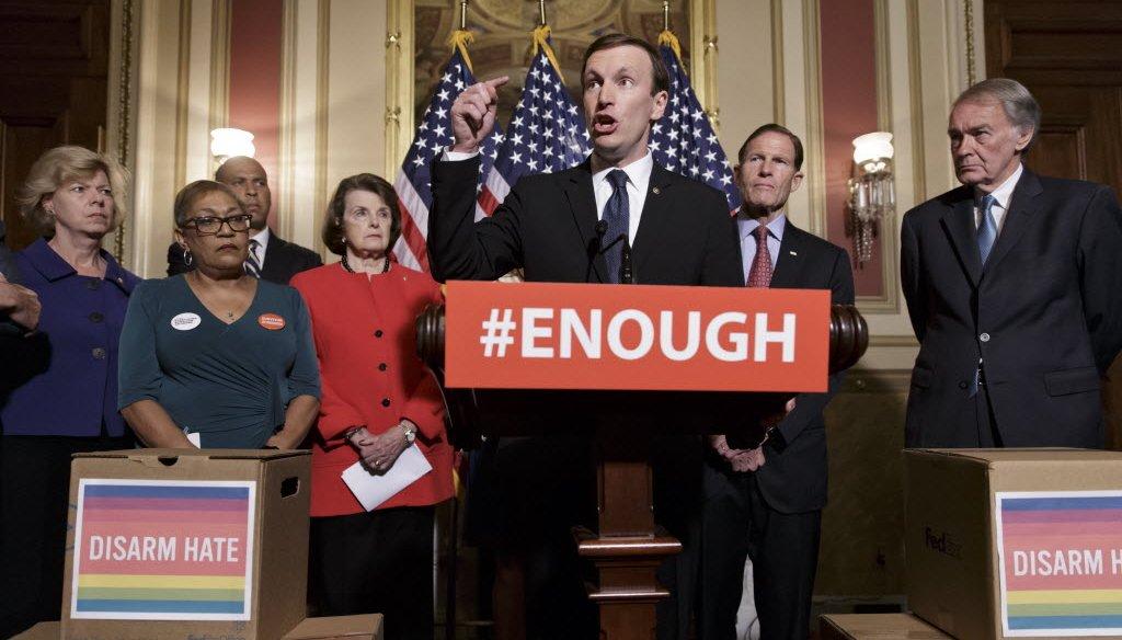 U.S. Sen. Tammy Baldwin of Wisconsin (far left) joins other Democratic senators in calling for gun control legislation in the wake of the Orlando nightclub shooting. (AP Photo)