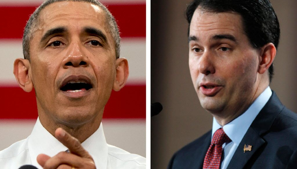 "As president, Democrat Barack Obama (left) proposed a ""full expansion"" of Medicaid through his Affordable Care Act, offering states additional federal money. Gov. Scott Walker rejected the offer."