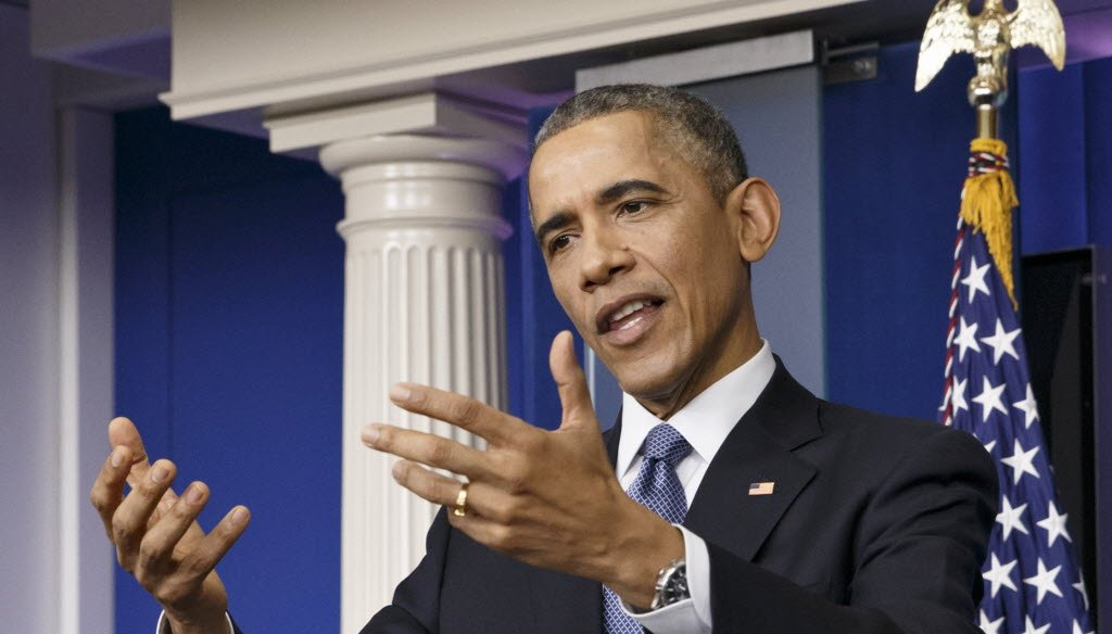 President Barack Obama spoke about health insurance and other topics during a news conference at The White House on Dec. 19, 2014. (AP photo)
