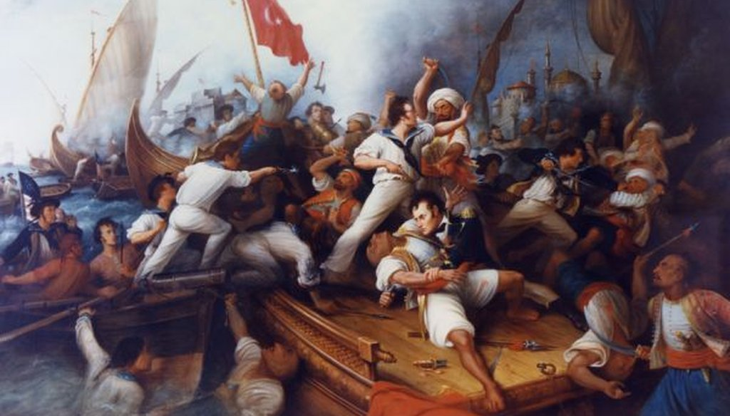 An oil painting of Lt. Stephen Decatur boarding a Tripolitan gunboat during the bombardment of Tripoli, Aug. 3, 1804. (Department of the Navy)