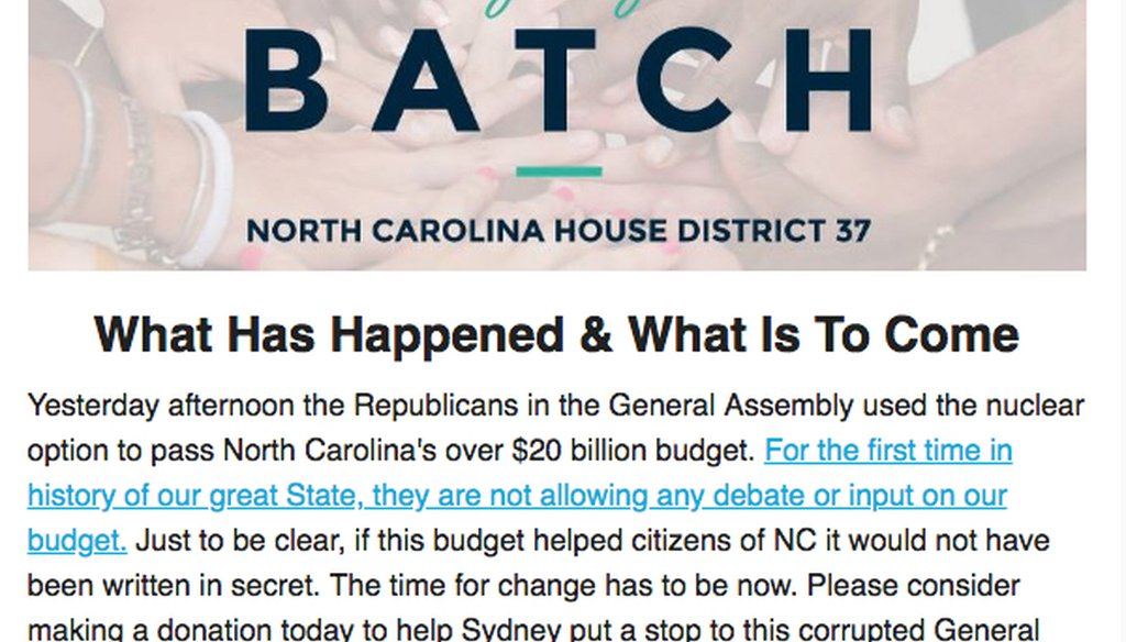 Sydney Batch, a Democratic candidate for NC House district 37, sent this newsletter on May 23.