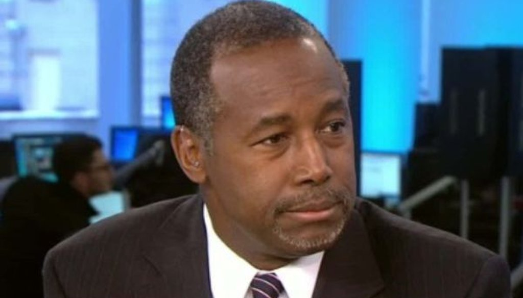 Republican presidential candidate Ben Carson is interviewed by CNN's Wolf Blitzer on Oct. 8, 2015.