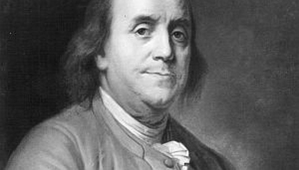 """Benjamin Franklin wrote many memorable lines in """"Poor Richard's Almanack."""" (File photo)"""
