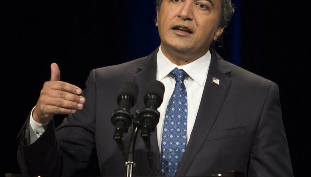 Rep. Ami Bera speaks at the 7th Congressional District debate in Sacramento on Tuesday, Oct. 18, 2016.
