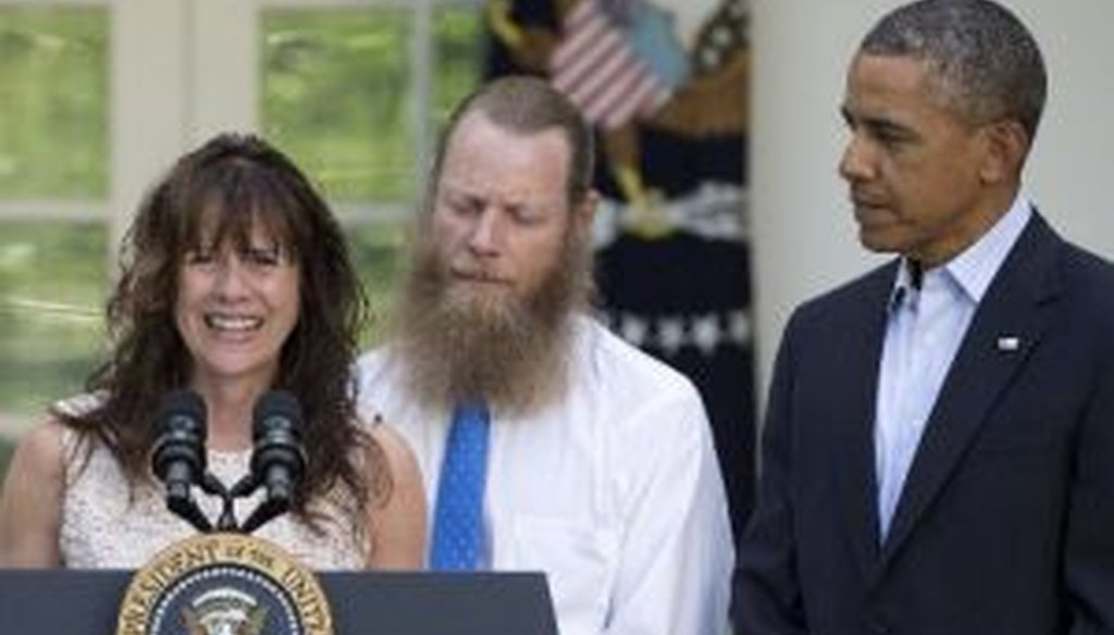 Jani Bergdahl and Bob Bergdahl attend a news conference in the Rose Garden with President Barack Obama on May 31, 2014, to announce the exchange of their son, U.S. Army Sgt. Bowe Bergdahl, for five Afghan detainees held at Guantanamo.