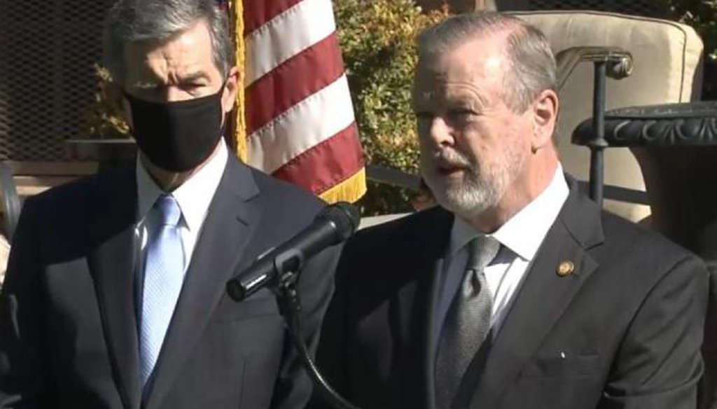 Senate President Pro Tem Phil Berger speaks Monday, April 26, 2021, at a press conference announcing Apple's new North Carolina campus. Gov. Roy Cooper is to the left. (WRAL)