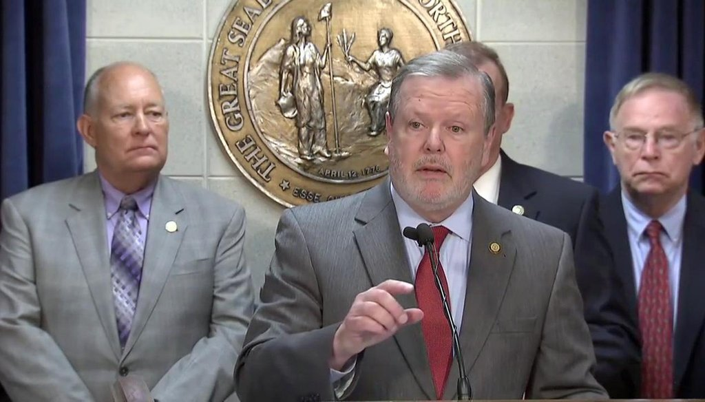 North Carolina Senate leader Phil Berger speaks at a press conference in Raleigh, NC.