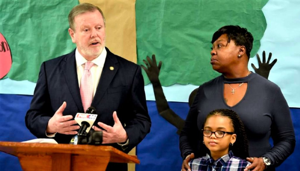 NC Senate Leader Phil Berger addresses the audience at The Male Leadership Academy of Charlotte in Charlotte, NC on Thursday, February 21, 2019 about the importance of people applying for the Opportunity Scholarship program. (McClatchy)