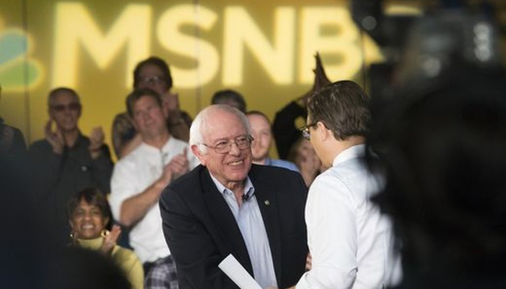 Former presidential candidate Bernie Sanders (left) did a town hall meeting in Kenosha, Wis., that was broadcast by MSNBC on Dec. 12, 2016. (Milwaukee Journal Sentinel/Mark Hoffman)