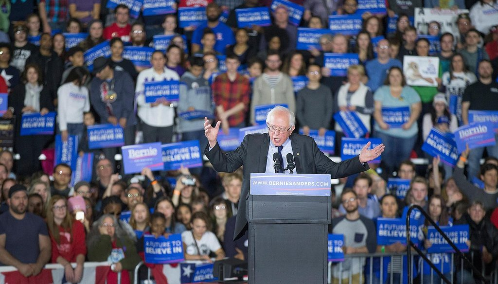 Democratic presidential candidate Bernie Sanders speaks at a campaign rally March 26, 2016 at the Alliant Energy Center in Madison. (Getty Images)